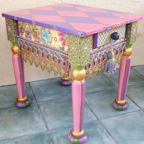 Harlequin Table 3, with ceramic feet, beads, fringes & over 1170 Swarovski crystals - Hand decorated & painted by Florida artists George & Tom.