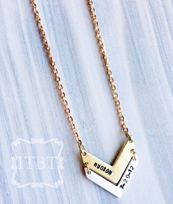 Chevron Mommy Necklace - Summer Fashion Necklace - Custom Mother's Necklace on Etsy, $25.00