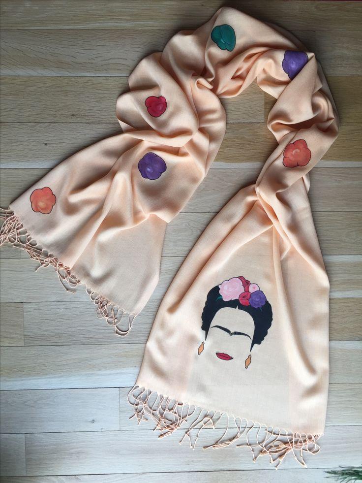 """Floral Frida"" handpainted shawl"