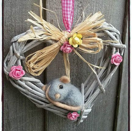 Miniature Mouse Heart, wreath Decoration, Needle felt 15cm Woodland gift. by PuppyduckMakes on Etsy