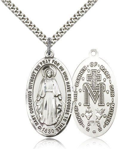 Genuine IceCarats Designer Jewelry Gift Sterling Silver Miraculous Pendant 1 3/8 X 3/4 Inch With 24 Inch Stainless Silver Heavy Curb Chain. Made In Usa. IceCarats. Save 65 Off!. $68.00. 30 day money back guarantee. Stainless Silver Heavy Curb Chain. Genuine IceCarats Designer Jewelry Gift. Made in USA. Sterling Silver Miraculous Pendant