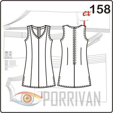 Выкройка туники сделана на основе платья 153 и, в сущности, полностью повторяет его конструкцию. Можно шить тунику из различных летних тканей от льна до шё