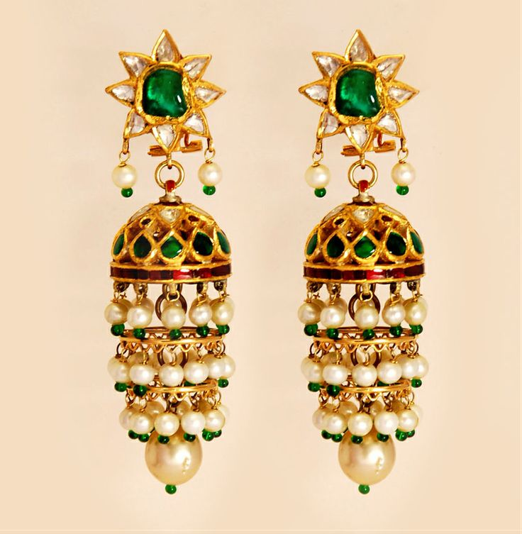 #Emerald #Chandeliers by Umrao #Jewels are now available at designemporia.in #Shop #India