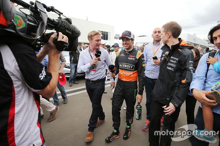 Sergio Perez, Sahara Force India F1 with Simon Lazenby, Sky Sports F1 TV Presenter
