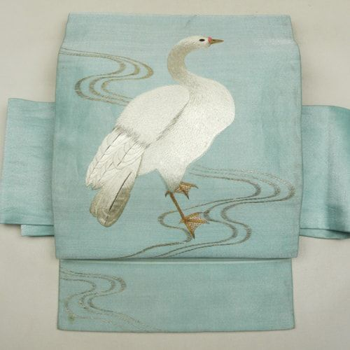 Light blue, silk nagoya obi / 控えめな透け感とシャリ感のある薄手地にの名古屋帯    #Kimono #Japan http://global.rakuten.com/en/store/aiyama/