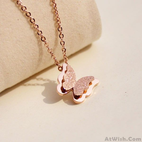 Wow~ Awesome Lovely Frosted Butterfly Pendant Necklace! It only $19.99 at www.AtWish.com! I like it so much<3<3!