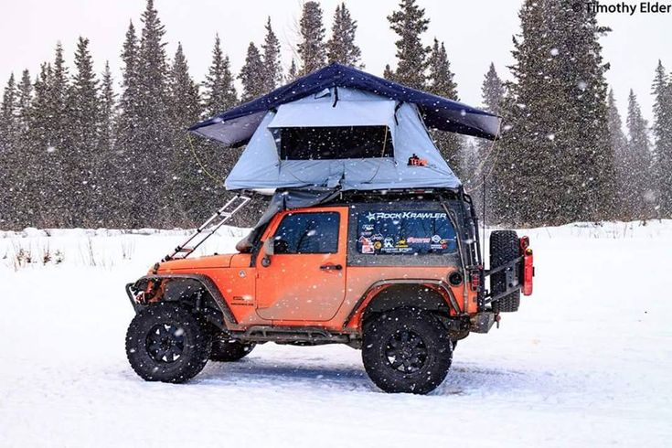 Tim Elder has a nice Tent Topped Jeep setup