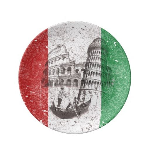 'Flag and Symbols of Italy' Porcelain Plate This patriotic design features the flag of Italy overlaying images of The Leaning Tower of Pisa, the Coliseum and a traditional gondola seen in the canals of Venice... all with a modern, distressed effect.