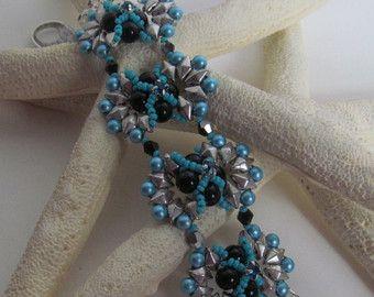 Blue beaded bracelet, diamond duo bracelet, black pearl bracelet, montee bracelet, plus size bracelet