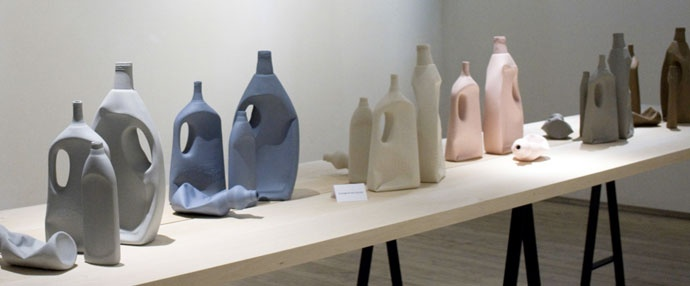 Michele Provinciali - ceramics with arrays of objects found on the foreshore, 1986