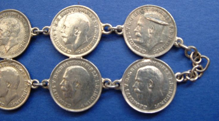 Boho Sterling Silver English Coin Bracelet Handmade Threepence 16 Silver Coins 1910-1918 by JewelryDiscoveries on Etsy #gotvintage