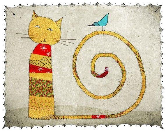 Cat  Print of an original illustration  children  by aliette, $25.00