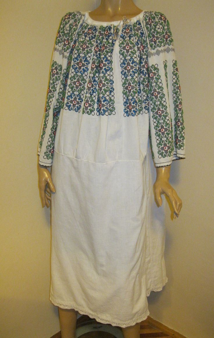 Antique GREEN beaded and hand embroidered Romanian  ethnic dress - L / XL  at www.greatblouses.com