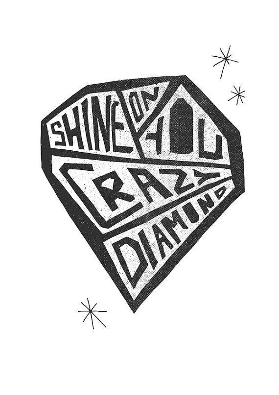 Pink Floyd Print Poster Shine On You Crazy Diamond by FoxAndVelvet