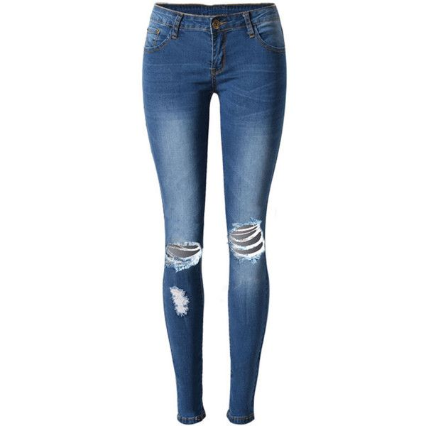 Ripped Light Wash Slim-Leg Mid-Rise Jean found on Polyvore featuring jeans, pants, pantalon, slim fit jeans, summer jeans, destroyed light wash jeans, slim jeans and blue jeans