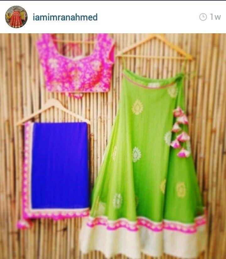 Blue pink green lehnga
