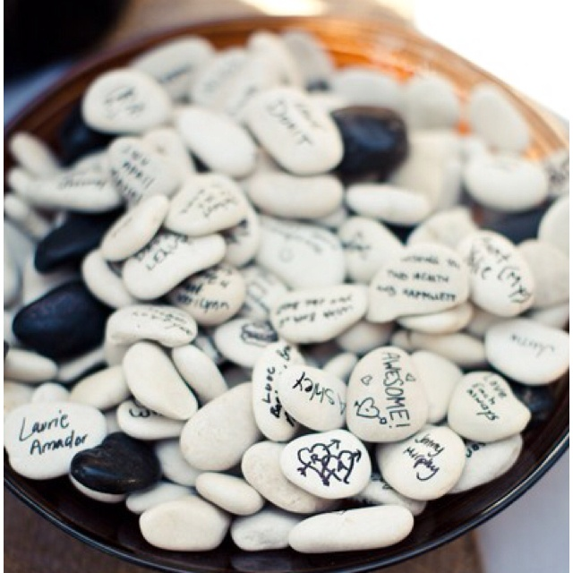 Love, love, love for a guest book idea. Would like really cute in a hurricane glass with sand at the bottom.