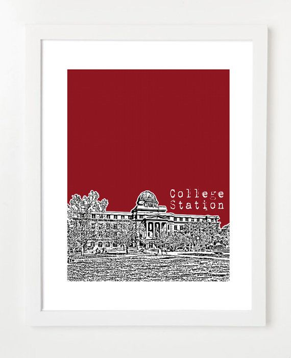 College Station Poster  College Station Texas by BugsyAndSprite, $20.00