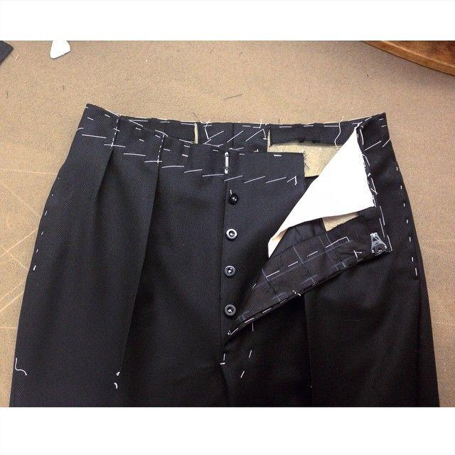 Heavy Hollywood pants fitting for @frednieddu @timothyeverest #bespoke #baste #handmade #timothyeverest #tailor #savilerow