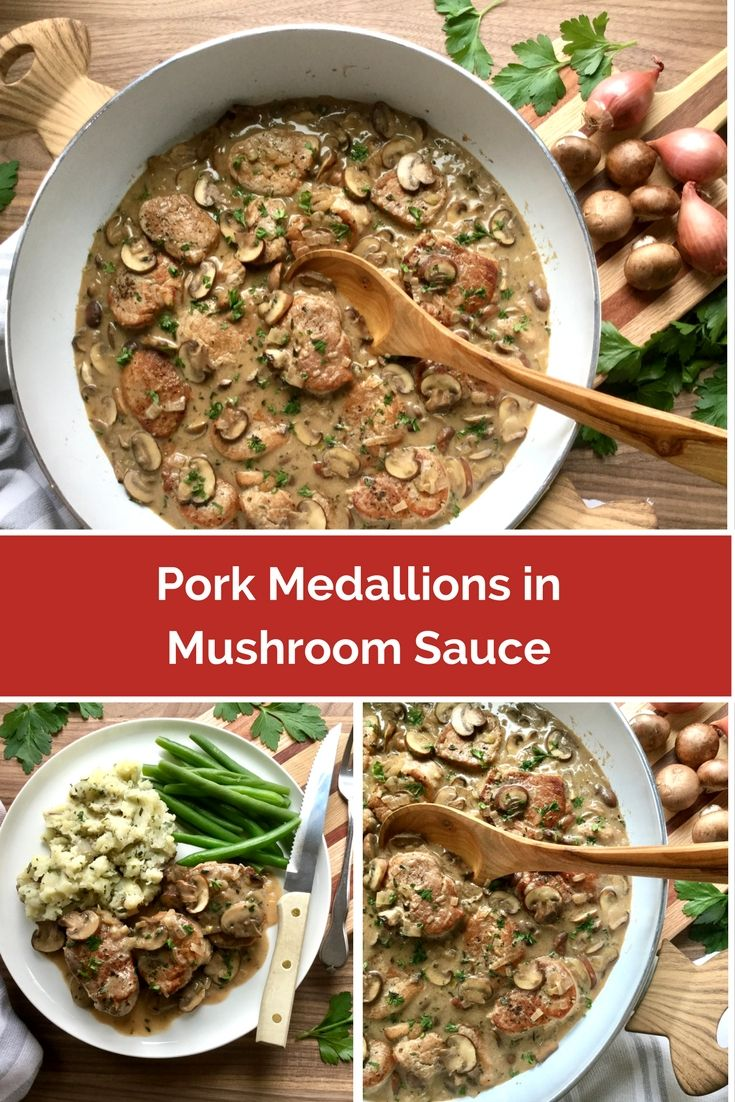 Pork medallions sautéed in a fabulous shallot and wine enhanced mushroom sauce scented with fragrant thyme leaves. Simple enough to pull off for a family week-night meal while elegant enough to impress guests for a dinner party.
