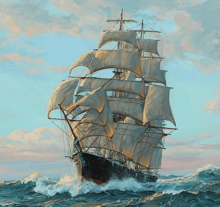 CHARLES VICKERY CLIPPER SHIP PAINTING - by Burchard Galleries Inc