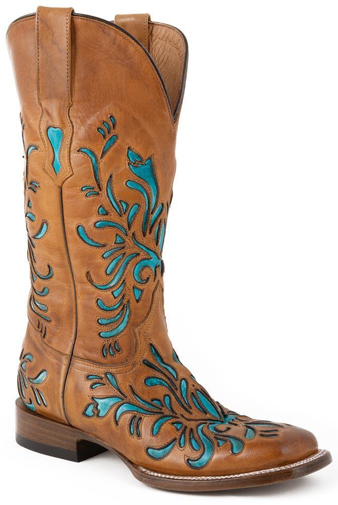 Stetson Womens Handmade Turquoise Underlay Cowboy Boots - Tan. LOVE!
