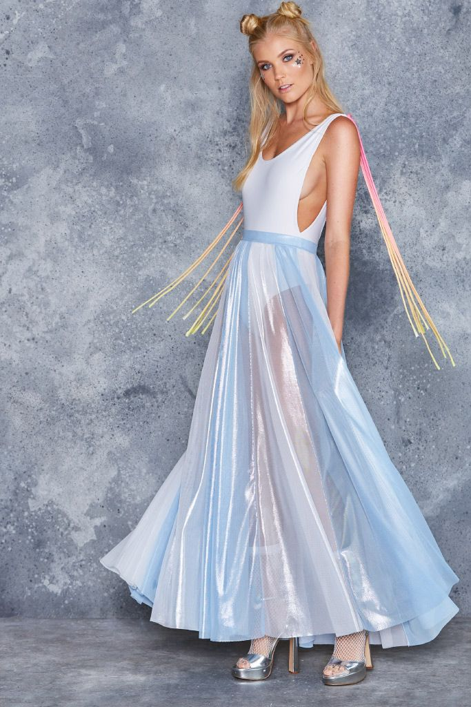 Ice Queen Sheer Maxi Skirt - LIMITED ($130AUD) by BlackMilk Clothing
