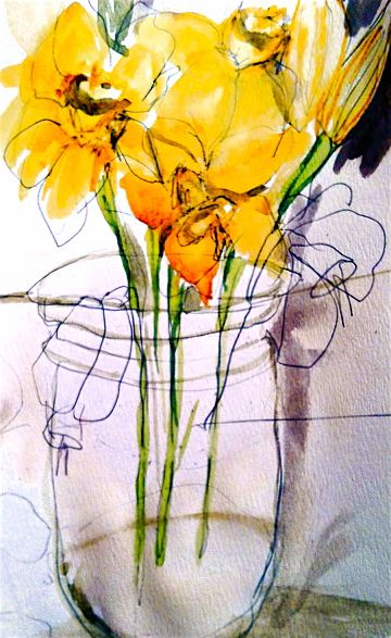 Blind contour drawings of floral arrangements (expressive with ink and stick) - further develop by building up colour washes in watercolour