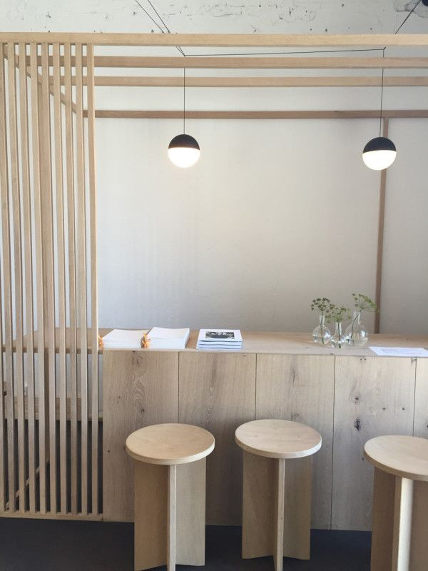 Front desk made out of Dinesen wood.