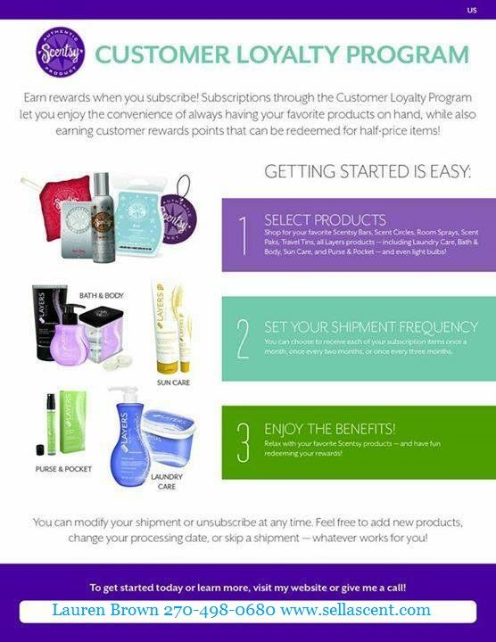SCENTSY CUSTOMER LOYALTY PROGRAM!! Email me for all your Scentsy Needs jenniferleewallace@gmail.com