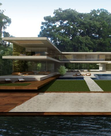 What a beautiful lakefront home this will be... notably, the design by London-based Kyson architects calls for use of Oak and Cyprus timber cut from trees on site for screening and flooring.
