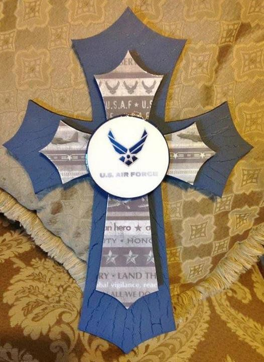 "MILITARY CROSS--- AIR FORCE THEMED CROSS....APPROX 17.5"" TALL, DOUBLE STACKED WITH TOP CROSS BEING APPROX 13.5"" COVERED WITH AIR FORCE THEMED PAPER WITH LOGO IN CENTER..... $25.00"