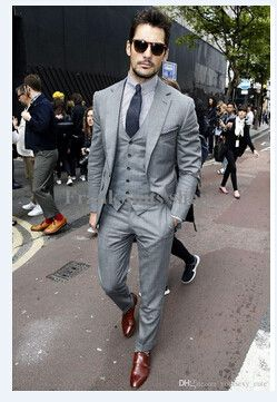 Mens Light Grey Suits Jacket Pants Formal Dress Men Suit Set men wedding suits groom tuxedos(jacket+pants+vest+tie)) http://www.99wtf.net/category/trends/