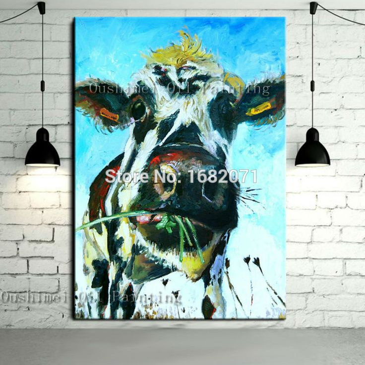 Free Shipping Skills Artist Handmade High Quality Abstract Animal Cow Oil Painting Pop Art Oil Paints For Living Room Decoration-in Painting & Calligraphy from Home, Kitchen & Garden on Aliexpress.com | Alibaba Group