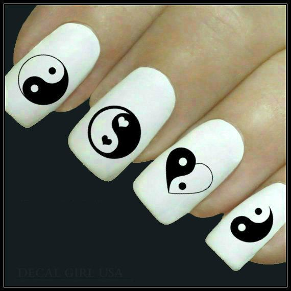 Nail Decal Yin Yang Nail Art 20 Water Slide Decals Fingernail Decals Nail Tattoo Pretty up your manicure and pedicure with Decal Girl USA's water