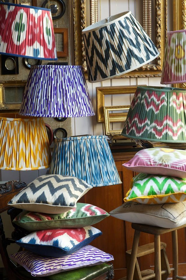Looking to step up your lighting game? These silk ikat lampshades by Melodi  Horne have