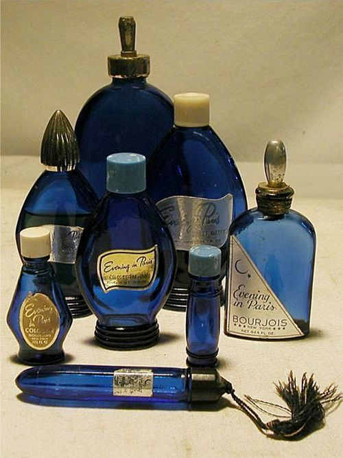 Evening in Paris ~ Bourjois 1928.  This perfume has been around forever!  I used to buy it for my Grandmother ~ loved the blue bottles.
