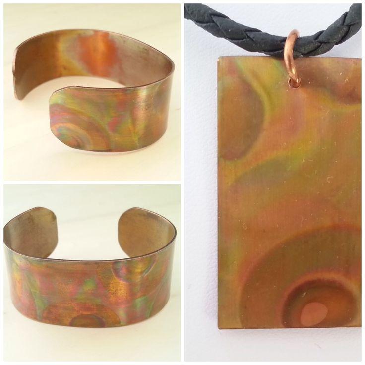 """""""Flame painted"""" koperen sieraden"""