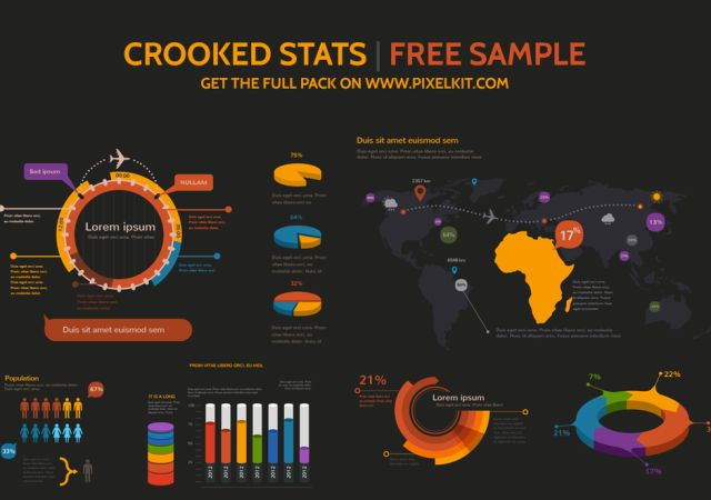 crooked stats infographic kit free psd free psds for web designers pinterest infographic. Black Bedroom Furniture Sets. Home Design Ideas