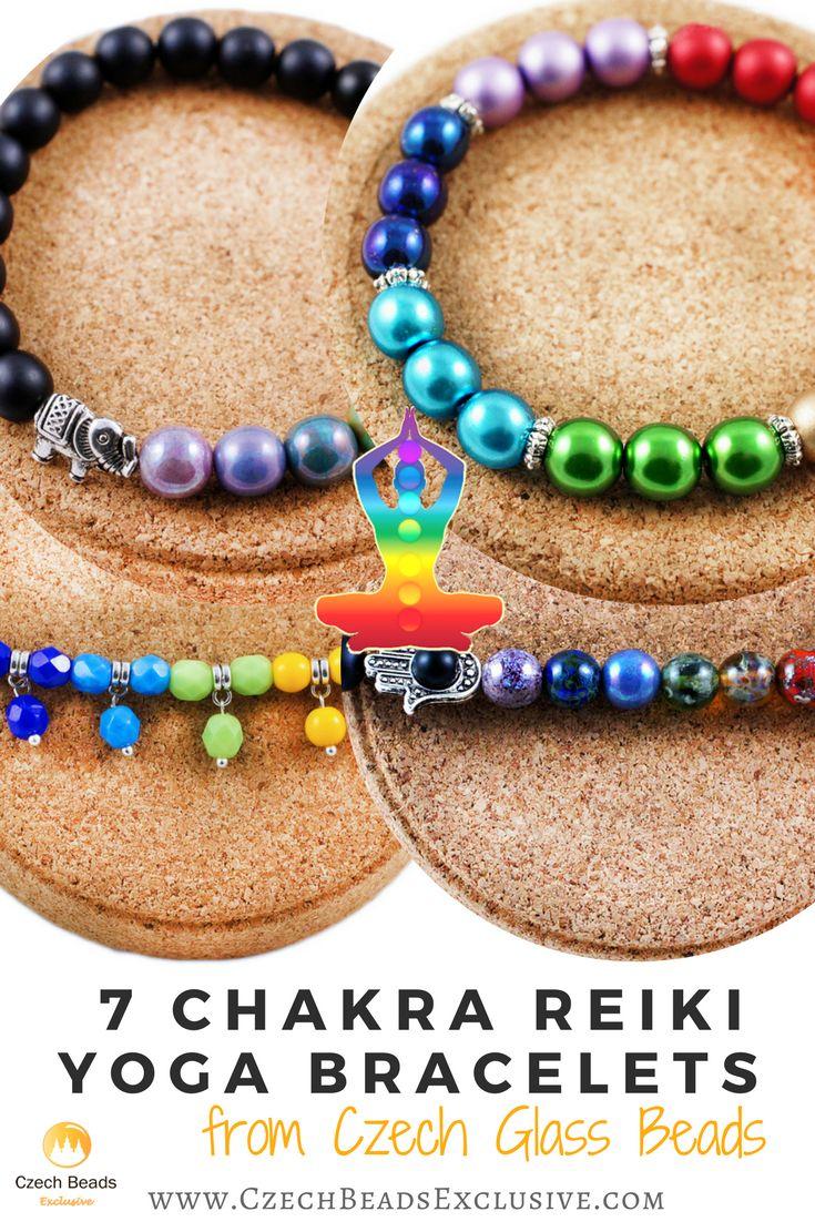 Design Idea Kit: 7 Chakra Reiki Yoga Bracelets from Czech Glass Beads | SAVE it! | CzechBeadsExclusive.com #czechbeadsexclusive #czechbeads