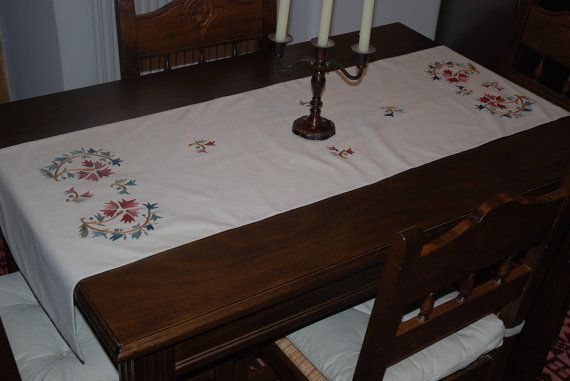 Table runner, Cretan Carnation design, hand embroidered, Cotton/Linen table runner, Dining table centrepiece