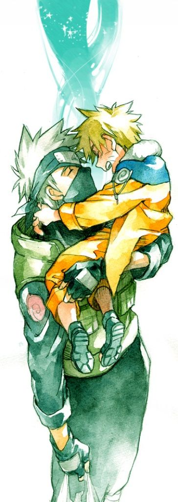 Kakashi-sensei and young Naruto   SO ADORABLE!!!!!!! I ABSOLUTELY LOVE THIS!!!!!!!!!!!!!!