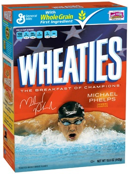 Michael Phelps on Wheaties box
