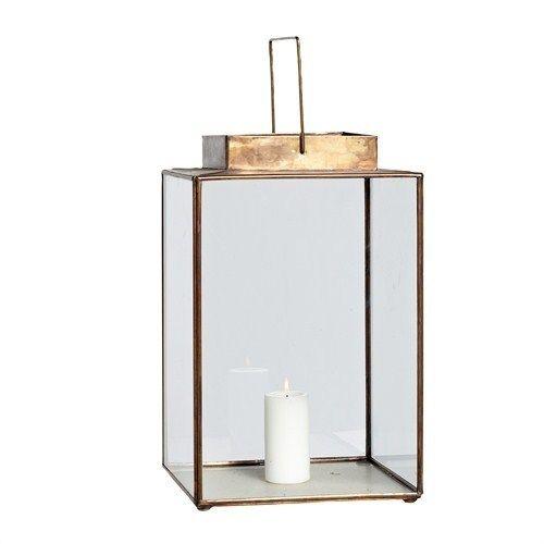 Laterne viereckig Messing/Glas Hübsch Interior