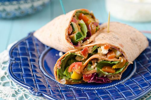 Mediterranean Wrap - packed this veggie-filled wrap up in lunch boxes