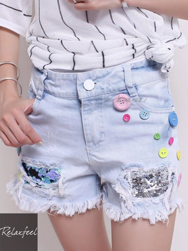 Relaxfeel Women's Embroidered Sequin Chiffon Shorts - New In