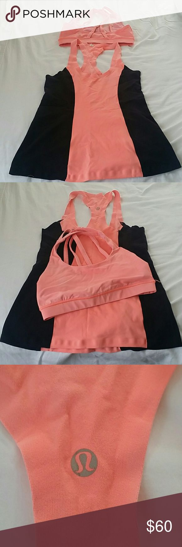 SALE - Lululemon work out top and sports bra Peach and black racer back top and matching sports bran with criss cross back top. The top is definitely a 6 but the bra is a 4. Both in very good condition, always washed in cold water with other LuLu items and air dried. No pilling on fabric or pulls. And no under arm staining. lululemon athletica Other