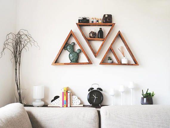set of 3 triangle shelves large triangle shelves pallet wood