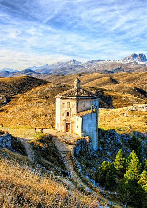 Visit this octagonal 17th century church, near the fortress of Rocca Calascio, for some truly jaw-dropping views of the Apennine Mountains.