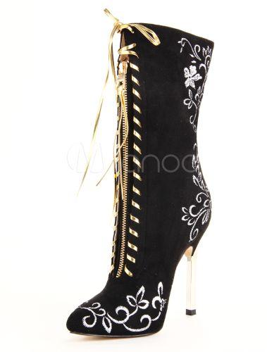 Popular Black Pointed Toe Stiletto Heel Micro Suede Women's Mid Calf Boots - Milanoo.com